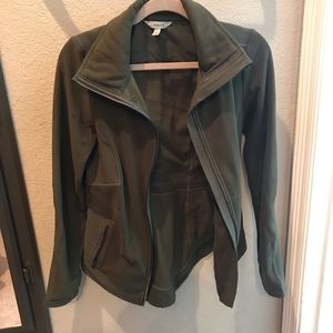 Athleta fleece jacket. Olive green. size small.